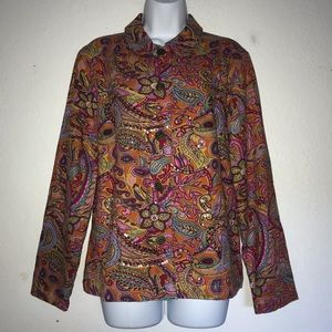Coldwater Creek Paisley Sequin Beaded Jacket M